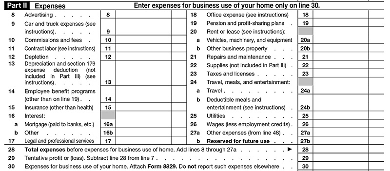 Schedule C Expenses Section